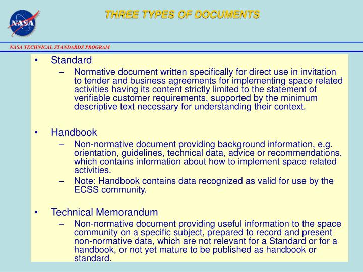 THREE TYPES OF DOCUMENTS