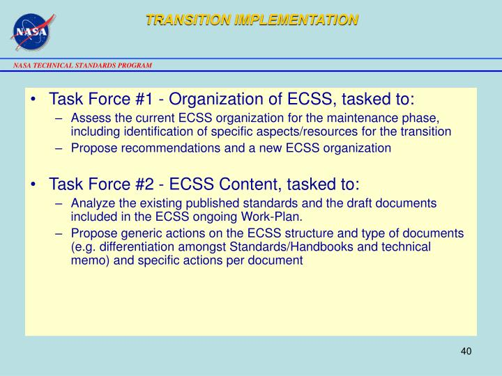 TRANSITION IMPLEMENTATION