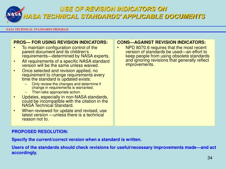 USE OF REVISION INDICATORS ON