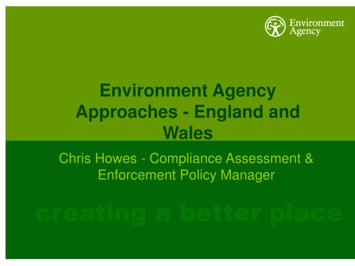 environment agency approaches england and wales n.