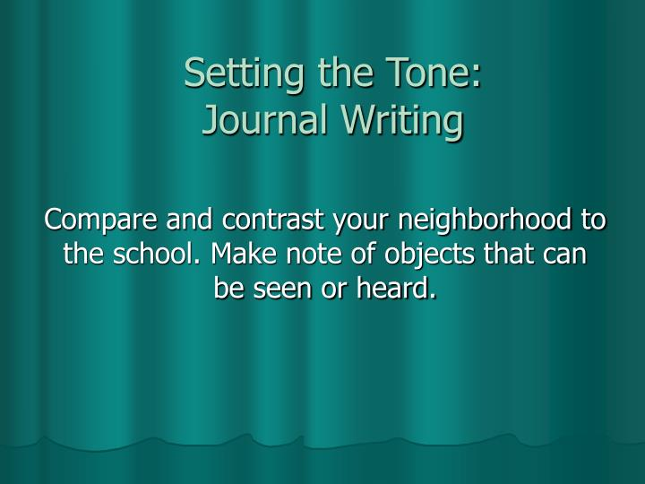 setting the tone journal writing n.