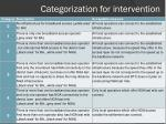 categorization for intervention