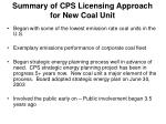 summary of cps licensing approach for new coal unit