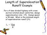 length of superelevation runoff example
