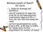 minimum length of runoff for curve
