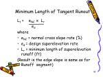 minimum length of tangent runout