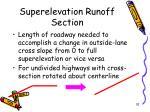 superelevation runoff section