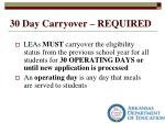 30 day carryover required