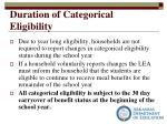 duration of categorical eligibility