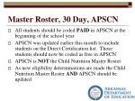 master roster 30 day apscn