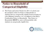 notice to household of categorical eligibility