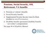 pensions social security ssi retirement va benefits