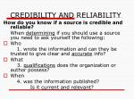 credibility and reliability