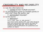 credibility and reliability1