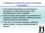 challenges to hospital assurances of ongoing competency1