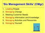 six management skills cmgr