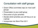 consultation with staff groups
