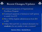 recent changes updates