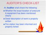 auditor s check list