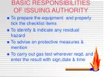 basic responsibilities of issuing authority