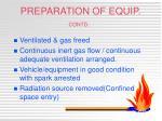 preparation of equip contd