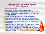 procedure for work permit system wps1