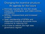 changing the incentive structure an agenda for the future1