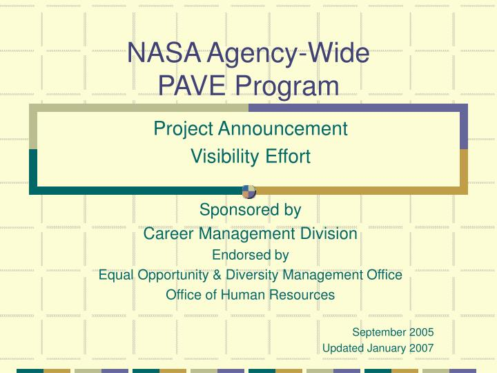 nasa agency wide pave program n.