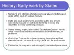history early work by states
