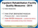 inpatient rehabilitation facility quality measures 2014