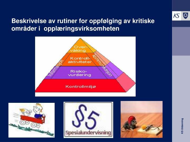 Beskrivelse av rutiner for oppfølging av kritiske områder i  opplæringsvirksomheten