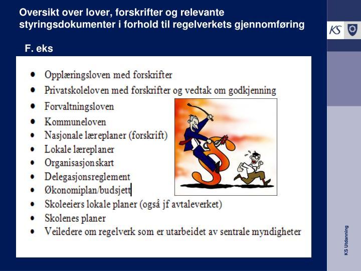 Oversikt over lover, forskrifter og relevante styringsdokumenter i forhold til regelverkets gjennomføring
