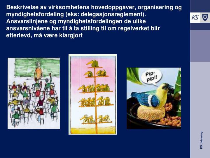 Beskrivelse av virksomhetens hovedoppgaver, organisering og
