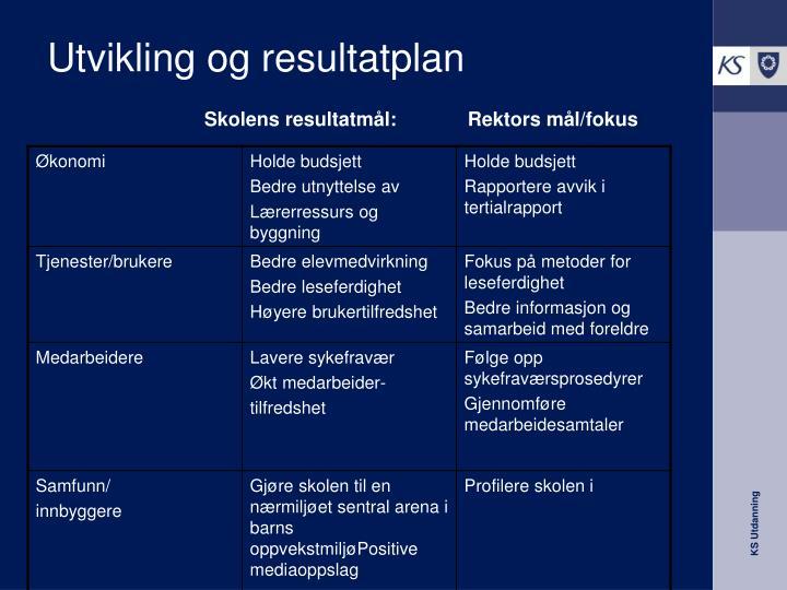 Utvikling og resultatplan