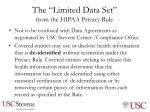 the limited data set from the hipaa privacy rule
