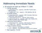 addressing immediate needs
