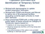 population estimates and identification of temporary school sites