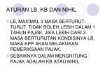 aturan lb kb dan nihil