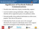 significance of facebook political communications
