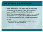 irb waiver of written consent