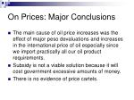 on prices major conclusions