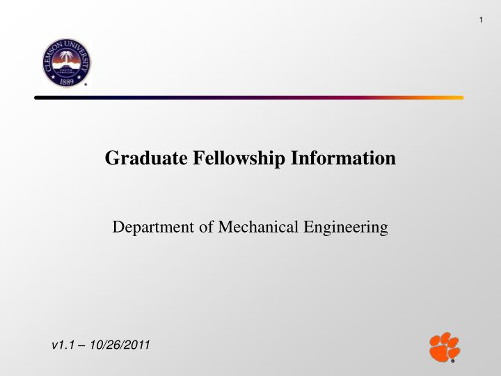 graduate fellowship information n.