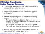 fm budget amendments budget reversal documents