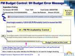 fm budget control 9h budget error message