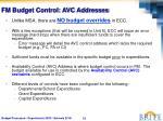 fm budget control avc addresses