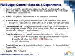 fm budget control schools departments