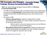 fm concepts and changes automatic budget postings revenue increasing budget rib