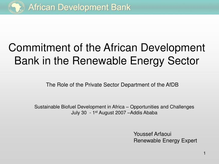 commitment of the african development bank in the renewable energy sector n.