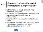 contexto la inversi n social es imperativa e impostergable