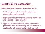 benefits of pre assessment
